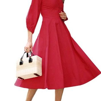 Red Button Front Balloon Sleeve Vintage Dresses