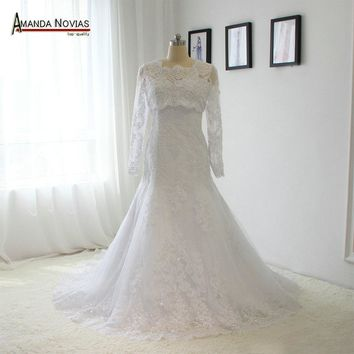Sweetheart Neckline Lace Appliques Mermaid Wedding Dresses With Long Sleeve Jacket NS1462