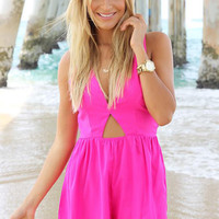 Hot Pink V-Neck Romper