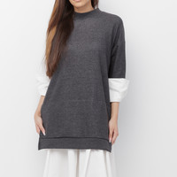 OSHII OVERSIZED PULLOVER DRESS - GREY