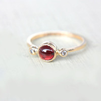 Red Garnet and Diamond Ring 14k Yellow Gold Natural Garnet Diamond Gold Ring Made in Your Size Red Garnet Diamond Engagement Ring