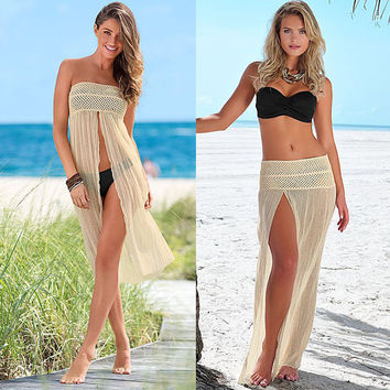 Summer Sexy Women Bikini Cover Up Mesh Hollow Lace Crochet Beach Dress Slit Women Swimwear Swimsuit Cover Up Beachwear H092