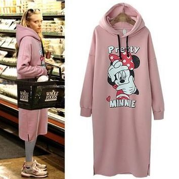 2017 autumn winter women girl hoodie warm minnie mickey printed fleece long pullover pink color harajuku Tracksuits sweatshirt