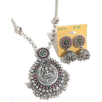 Goddess Lakshmi Pendant silver matte finish chain necklace and jhumka earring set with kemp stone - Design 3