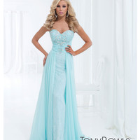 (PRE-ORDER) Tony Bowls 2014 Prom Dresses - Ice Blue Rhinestone & Lace Strapless Chiffon Gown