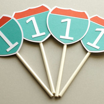 Set of 12 Cupcake Toppers, Transportation Birthday Party, Boy's Birthday, Little Boy Party, Automobile BirthdayParty, Boy Car Birthday