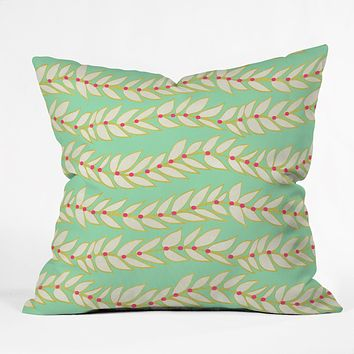 Jacqueline Maldonado Leaf Dot Stripe Mint Throw Pillow