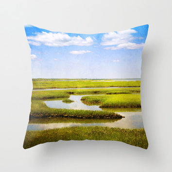 View From Bass Hole Boardwalk at Grays Beach Yarmouth Port MA Cape Cod - Throw Pillow Cover Green Blue Summer
