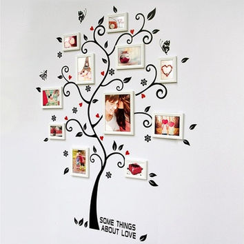 Chic Black Family Photo Frame Tree Mural Wall Sticker Home Decor Decals [8045585863]