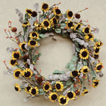 "Dried Sunflower Wreath - 20"" *FREE SHIPPING*"