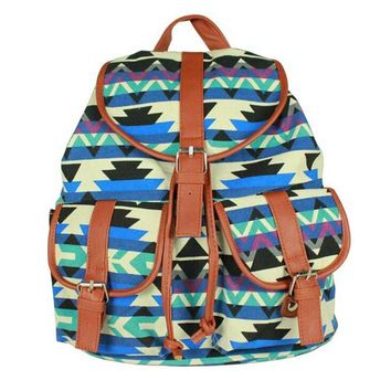 women s aztec chevron daypack canvas backpack campus school bookbag 2