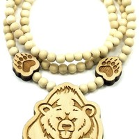 Bear Good Wood Goodwood Maple Natural Wood Replica Pendant Necklace Piece