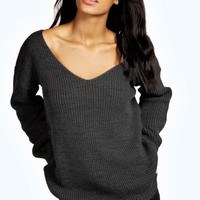 Sasha Oversized V Neck Jumper | Boohoo