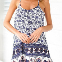 Elephant Print Spaghetti Straps Beach Dress