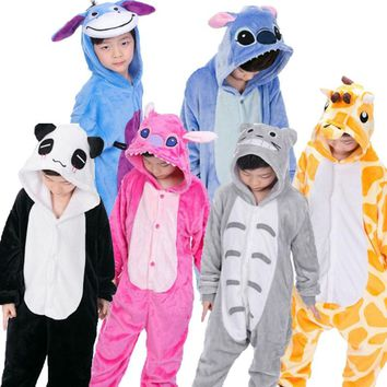 Kigurumi Onesuit Children's Animals Pijama Kids Winter Flannel Unicorn Boys Girls Pajama Cosplay Pajamas Sleepwear Baby Jumpsuit