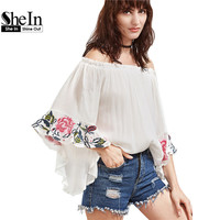 SheIn White Off The Shoulder Flare Sleeve Embroidered Blouse Womens Tops 2017 Three Quarter Length Sleeve Blouse