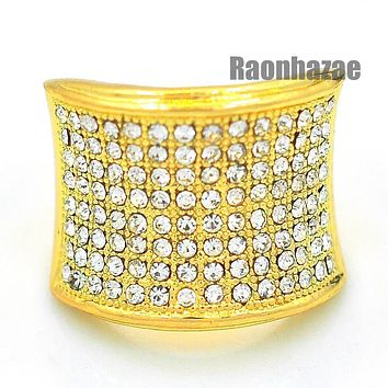 MENS HIP HOP RAPPER CHUNKY PAVE 14K GOLD PLATED RING SIZE 7 - 12 N010G