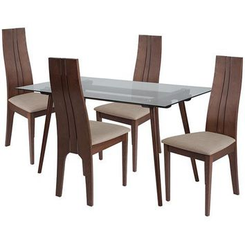 Concord 5 Piece Walnut Wood Dining Table Set with Glass Top and Padded Wood Dining Chairs