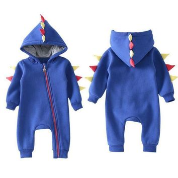 Cute Newborn Infant Baby Boy Dinosaur Hooded Romper Jumpsuit Bodysuit Outfits US