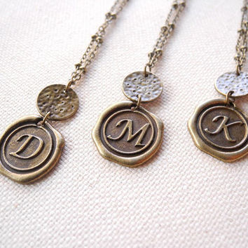 Monogram Initial Necklace - Personalized Monogram Necklace - Letter Charm Necklace - Brass Jewelry
