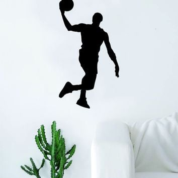 Basketball Player V1 Silhouette Quote Wall Decal Sticker Bedroom Living Room Art Vinyl Teen Sports Bball Ball is Life Dunk