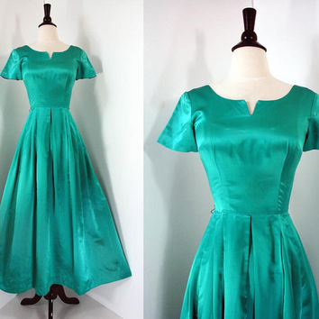 60s Vintage Dress Cocktail Party Gown Emerald by swingkatsvintage