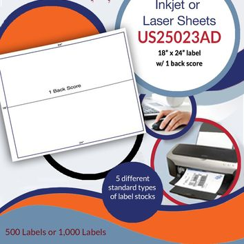 "US25023AD - 2 up 9'' x 24'' label on a 18"" x 24"" sheet"