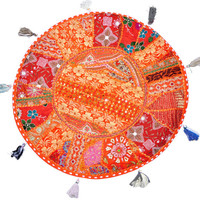 "22"" Patchwork Round Floor Pillow round floor Cushion embroidered Bohemian Patchwork floor cushion pouf Vintage Indian Foot Stool Bean Bag"