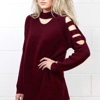 Mock Neck + Cut Out Sleeves Knit Sweater {Burgundy}