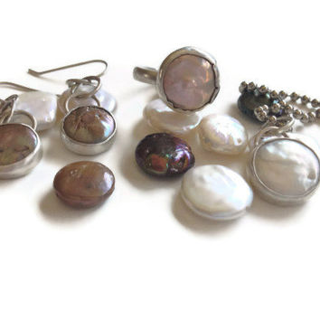 The 2013 mermaid Coin Pearl SET  featuring Sterling silver bezel set dangle earrings, ring and pendant. Sundance style TAGT