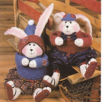 Pattern for 16 inch plush felt bunnies Chloey Cottontail and Timothy Trailhopper designed by Laura Hakes for Indygo Junction UNCUT