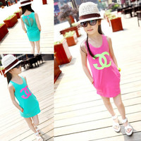 Girls Sleeveless Summer Dress