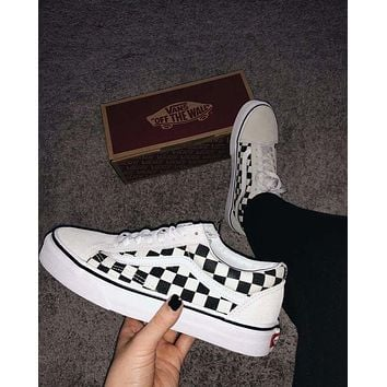 VANS Old Skool Trending Women Men Stylish Black White Checkerboard Pattern Canvas Flats Sneakers Sport Shoes I/A