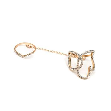 Dainty Crystal Fancy Chain Linked Knuckle Ring