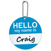 Craig Hello My Name Is Round ID Card Luggage Tag