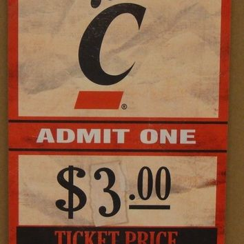 "CINCINNATI BEARCATS GAME TICKET ADMIT ONE GO BEARCATS WOOD SIGN 6""X12'' WINCRAFT"