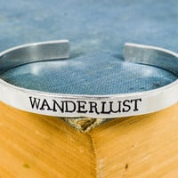 Wanderlust Bracelet - Mountains - Travel - Adventure - Adjustable Aluminum Cuff Ring