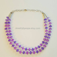 Purple Statement Necklace, Bib Necklace Statement, Layered Beaded Necklace, Bridesmaid Jewelry