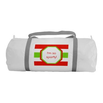 Stripes White Red Green Duffle Bag