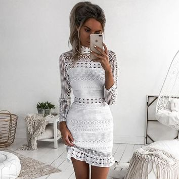 New Vintage hollow out lace dress women Elegant Long sleeve white dress spring chic party sexy dress vestidos robe