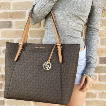 Michael Kors Ciara Large East West Top Zip Tote Brown MK Signature