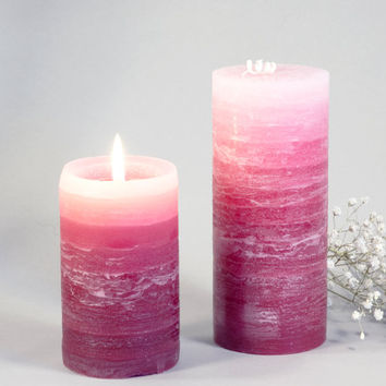 "Pink ""Rose Quartz"" Pillar Candles 2.5 x 4""- Rustic Layered Fade Style- Pink, Rustic Wedding, Spring, Summer"