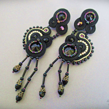 Black Gold Iridescent Earring, Black Long Stud Soutache Earrings, Victorian Gothic Lolita Earring, Evening Cocktail Earring, Black Crystal
