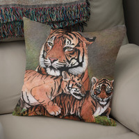 «Family of tigers», Numbered Edition Coussin by Savousepate - From 25€ - Curioos