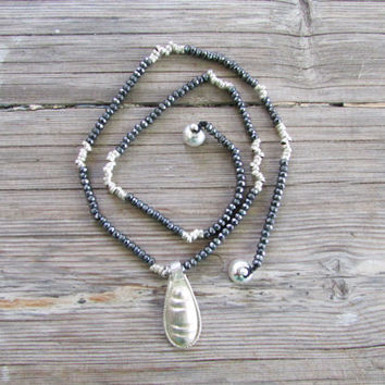 Pyrite Beaded Gray Necklace, Gemstone Sparkling Jewelry, Gems and Afican Handmade Beads