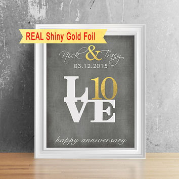 Real Shiny Gold Foil 10 Year Anniversary Gift For Him, Her, 10th Anniversary Gift For Men, Anniversary Gift For Boyfriend, Paper Anniversary