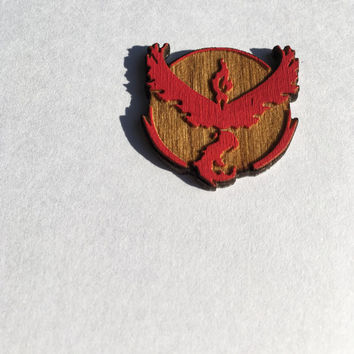 Pokémon Go! Team Valor Wood Hat Pin, Pokemon Go Team Lapel Pins