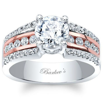 Barkev's Two Tone Classic Three Row Diamond Engagement Ring