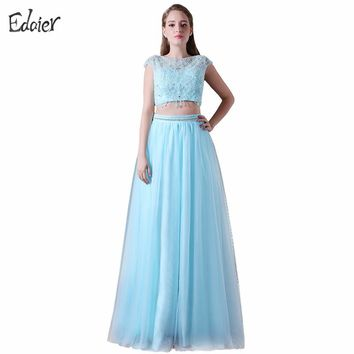 Two Piece Prom Dresses 2017 A Line Scoop Cap Sleeve Prom Gown Sequined Beaded Long Evening Dress Backless Vestido De Festa