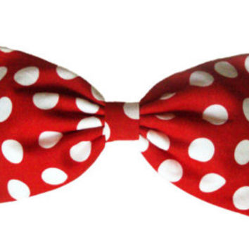 Kawaii Harajuku Minnie Mouse Hair BOW Red big white Polka Dots BIG Stuffed Hair BOW